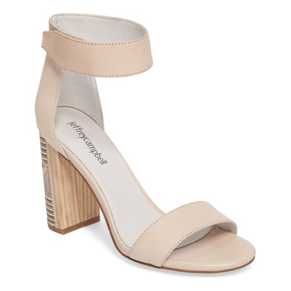 JEFFREY CAMPBELL lindsay geo-heel sandal - A tall half-moon heel patterned in the look of inlaid wood...