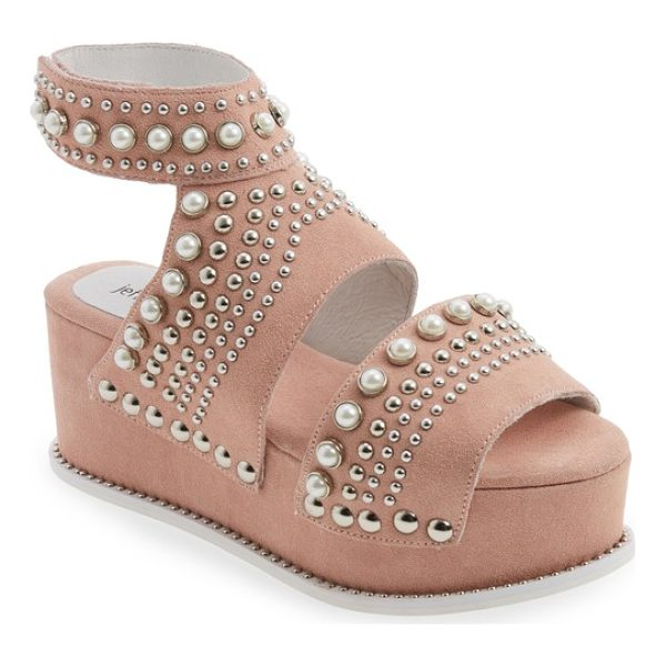 JEFFREY CAMPBELL palmira embellished platform sandal - A galaxy of imitation pearls and silvertone studs of all...