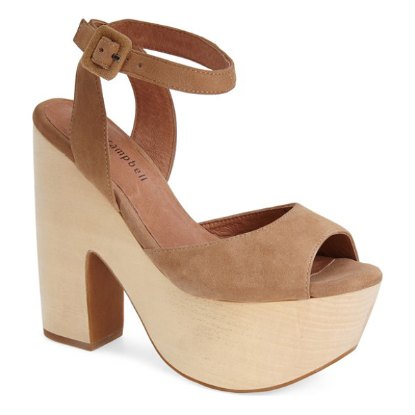 JEFFREY CAMPBELL sassy wood platform sandal - This standout ankle-strap sandal featuring a '60s-inspired...