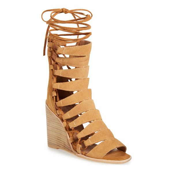 JEFFREY CAMPBELL zaferia gladiator wedge sandal - Channel your inner Roman goddess in a scene-stealing suede...