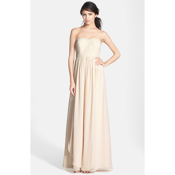 JENNY YOO aidan convertible strapless chiffon gown - A knotted twist shapes the pleated sweetheart bodice of a...