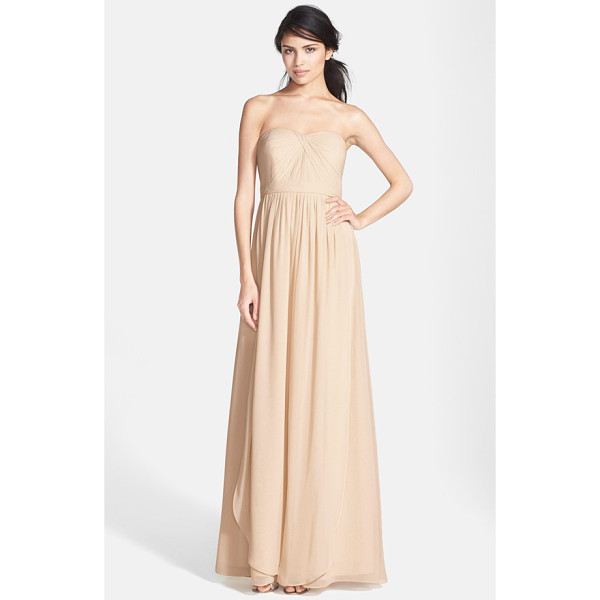 JENNY YOO 'aidan' convertible strapless chiffon gown - A knotted twist shapes the pleated sweetheart bodice of a...