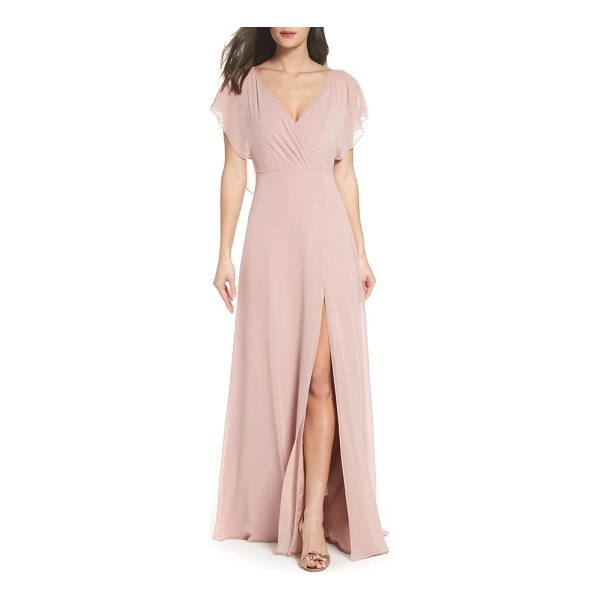 JENNY YOO alanna open back chiffon gown - Fluttery ruffles cascade from the shoulders of this...