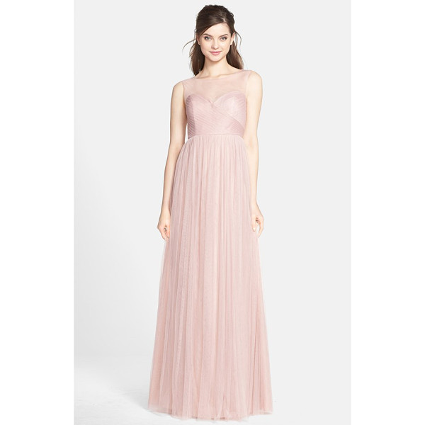 JENNY YOO aria illusion yoke pleated tulle gown - This timeless gown is soft and romantic in ethereal pleated...