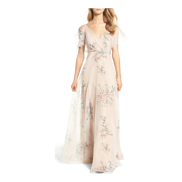 JENNY YOO cassie flutter sleeve surplice gown - Feather-light and printed with painterly floral bursts,...