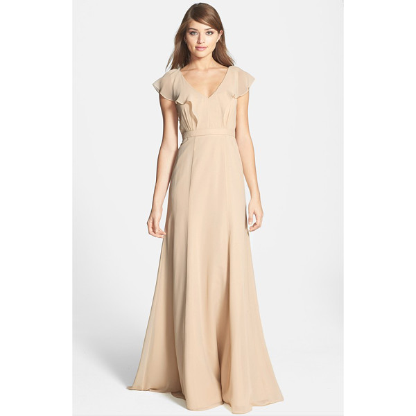 JENNY YOO 'cecilia' ruffled v-neck chiffon long dress - A gently draped ruffle flutters along the wide V-necklines...