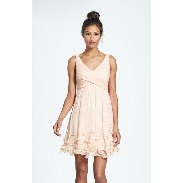 JENNY YOO crinkled silk chiffon dress - Crisscrossed panels wrapping the Empire bodice lend...