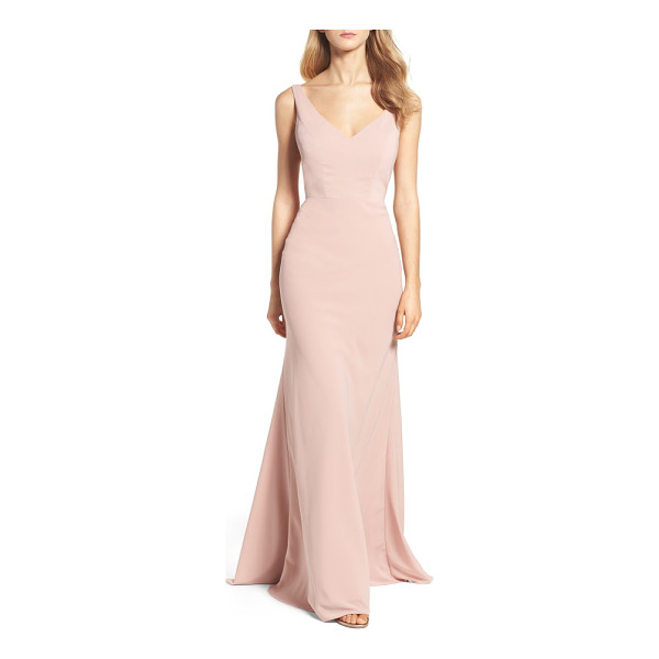 JENNY YOO delaney tie back v-neck gown - Secured in back by a dramatic tie, the fitted bodice of...