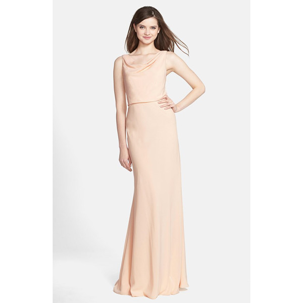 JENNY YOO drape neck crepe de chine gown - Fluid crepe elegantly drapes the figure in this serene...