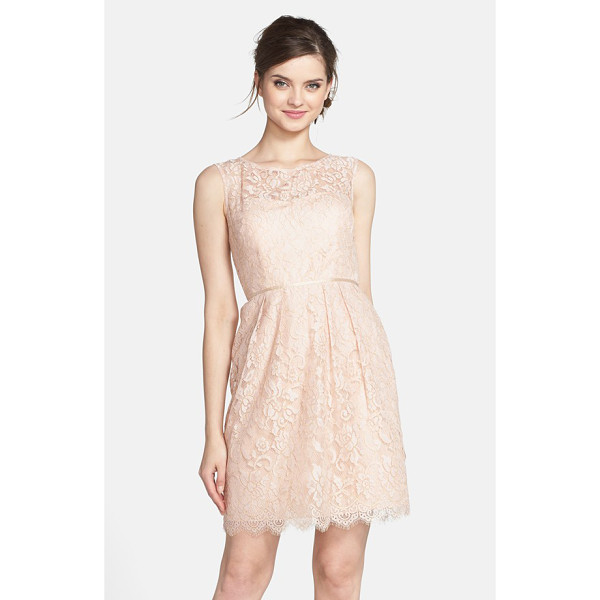 JENNY YOO harlow lyon gilded lace dress - Gilded lace catches the eye in this sweet sleeveless sheath...