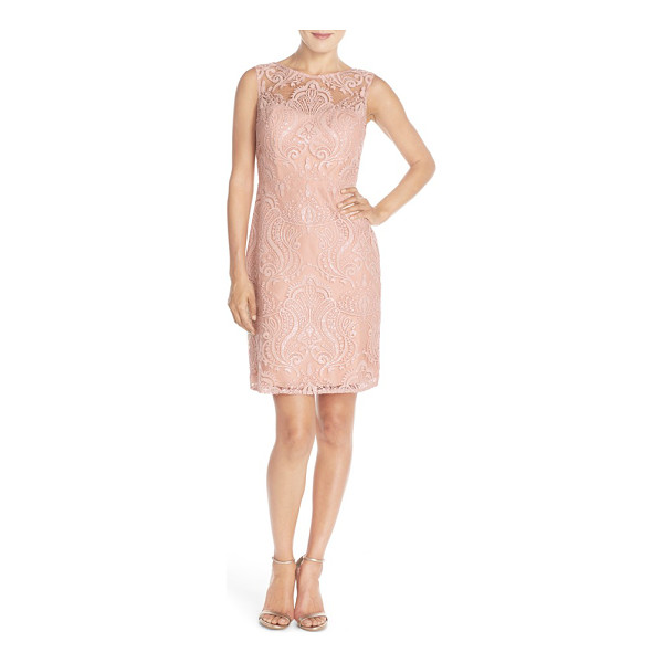 JENNY YOO 'harper' sequin lace sleeveless sheath dress - Glittering sequin embroidery enhances the radiant elegance...