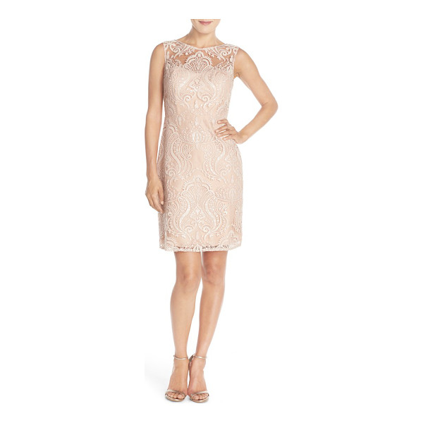 JENNY YOO harper sequin lace sleeveless sheath dress - Glittering sequin embroidery enhances the radiant elegance...
