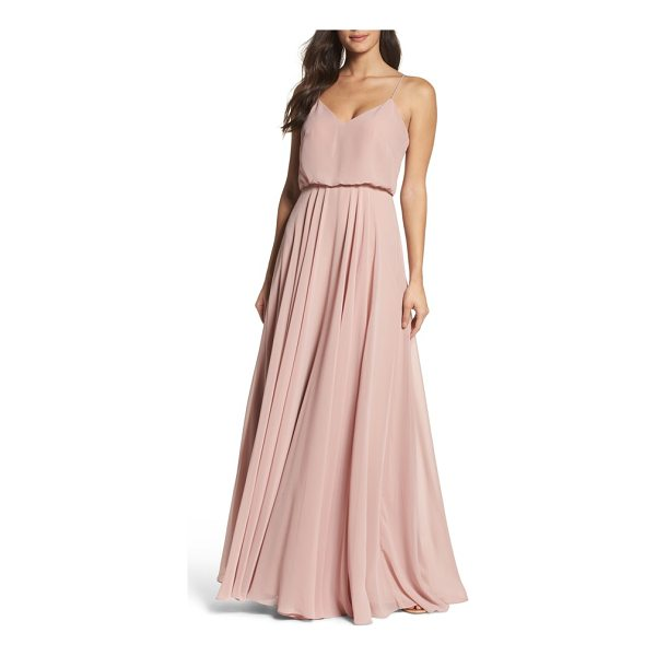 JENNY YOO inesse chiffon v-neck spaghetti strap gown - Slender straps that span the shoulders and meet in a V at...