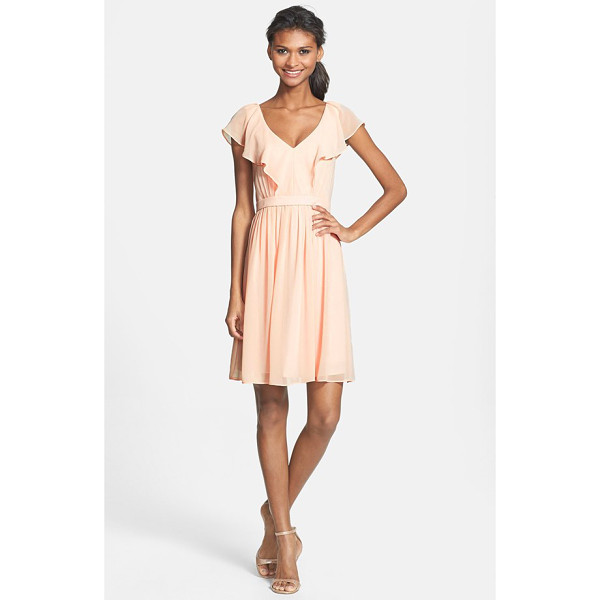 JENNY YOO isabel ruffled chiffon fit & flare dress - A gently draped ruffle flutters along the front-and-back...