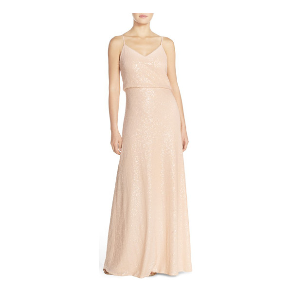 JENNY YOO 'jules' sequin blouson gown with detachable back cowl - Allover sequins catch the eye on a slinky V-neck gown...