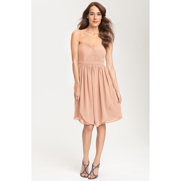 JENNY YOO keira convertible strapless chiffon dress - A knotted twist shapes the pleated sweetheart bodice of a...