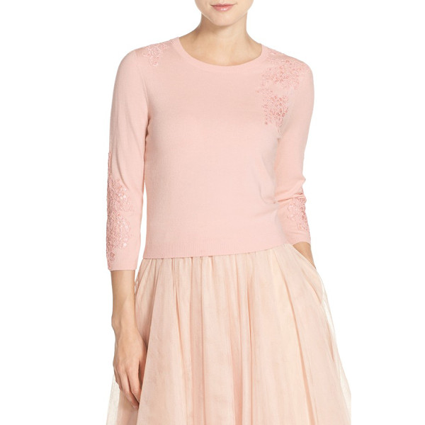 JENNY YOO lace applique crewneck sweater - A charming change of pace for cool-weather weddings, a...