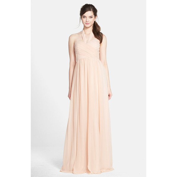 JENNY YOO leah convertible chiffon gown - A crisscrossed sweetheart bodice, defined waist and flowing...