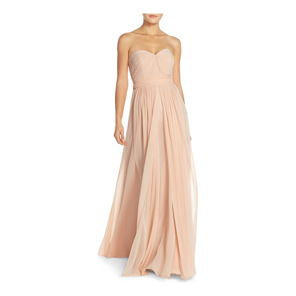 JENNY YOO mira convertible strapless chiffon gown - Meticulous pleating shapes the fitted sweetheart bodice of...