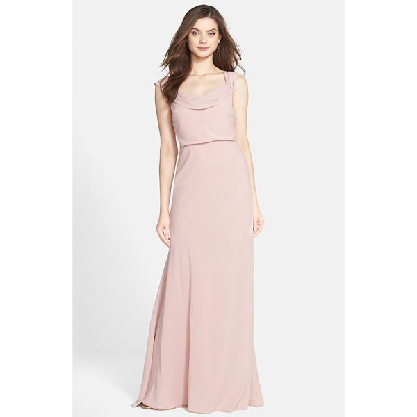 JENNY YOO sabine drop shoulder crepe de chine gown - A beautifully draped neckline and graceful dropped...