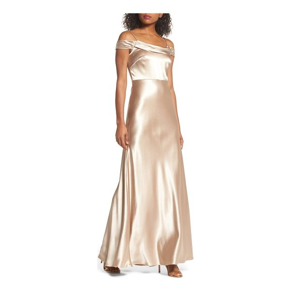 JENNY YOO sabine satin off the shoulder gown - Luminous satin brings a radiant glow to a fluid A-line gown...