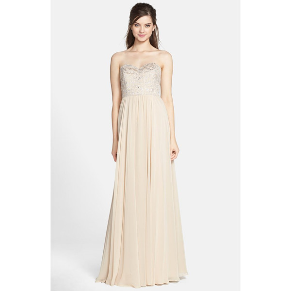 JENNY YOO scarlett strapless metallic lace & chiffon gown - Flourishing metallic lace illuminates a fitted sweetheart...