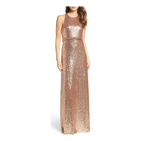 JENNY YOO sloane sequin halter gown - Sparkling embellishments swirl around a wildly flattering...