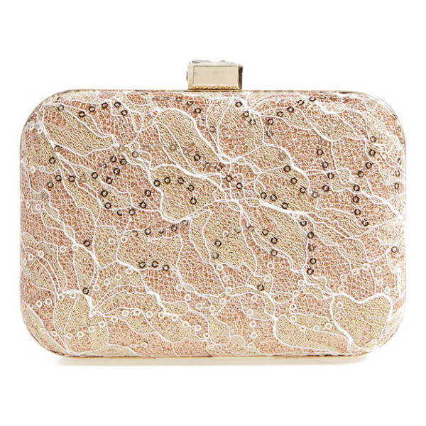 JESSICA MCCLINTOCK Metallic lace minaudiere - Ladylike lace is dusted with sequins for the perfect...