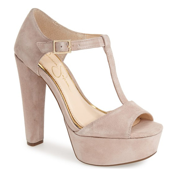 JESSICA SIMPSON adelinah t-strap platform sandal - A chunky covered heel and platform add serious height to a...