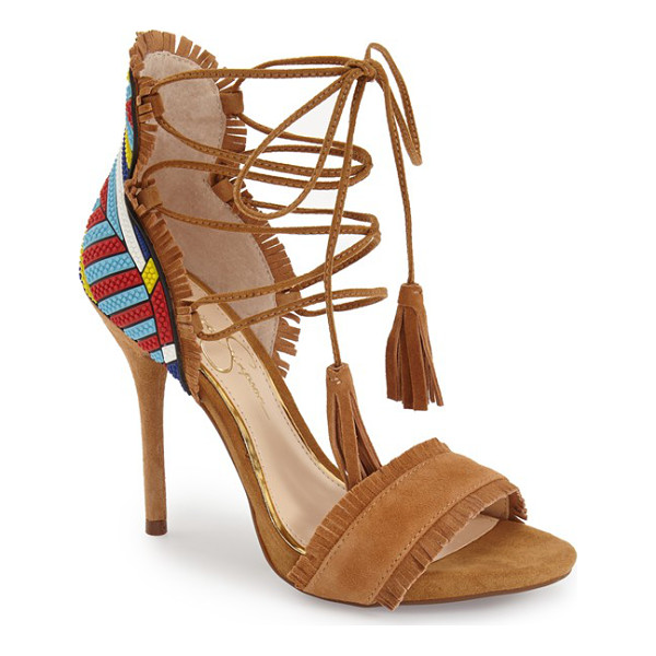 JESSICA SIMPSON basanti fringe lace-up sandal - An eye-catching mix of textures and tones lends plenty of...