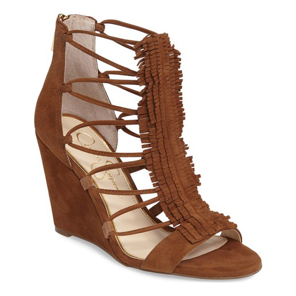 JESSICA SIMPSON 'beccy' wedge sandal - Sultry fringe and strappy sides detail a lush suede sandal...