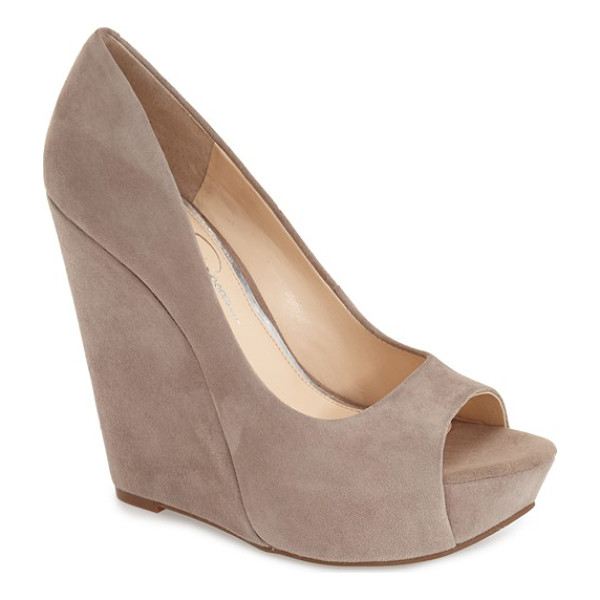 JESSICA SIMPSON bethani wedge platform sandal - A curvy upper is boosted by a sky-high cork wedge heel on...