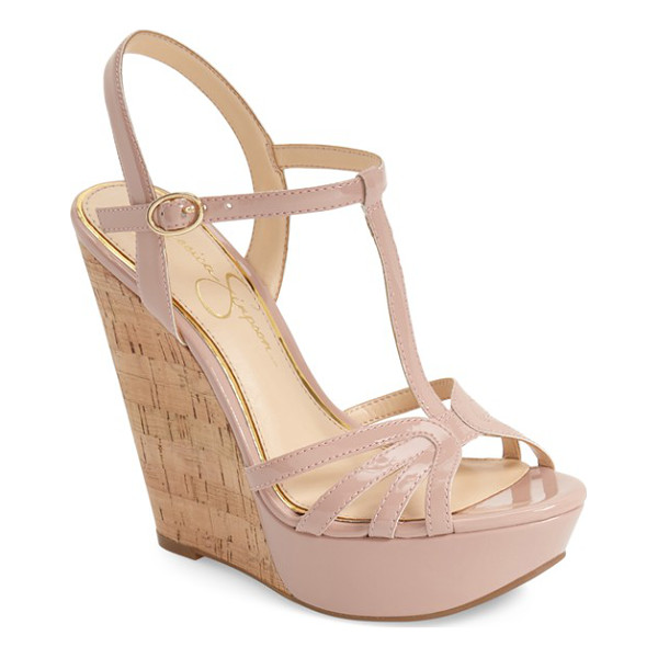 JESSICA SIMPSON bevin espadrille wedge sandal - An espadrille wedge adds a rustic element to a dramatic...