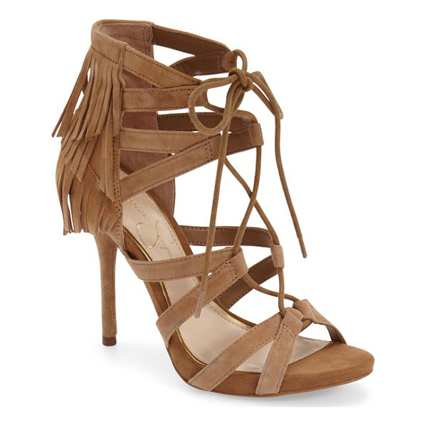 JESSICA SIMPSON bregan cage fringe sandal - Sultry straps wrap the vamp and foot of an alluring lace-up...