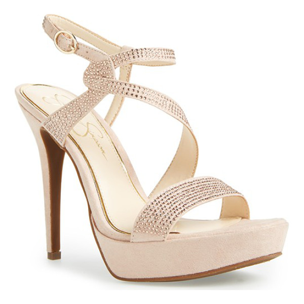 JESSICA SIMPSON brigid platform sandal - Sinuous crystal straps sparkle and shine on a showstopping...