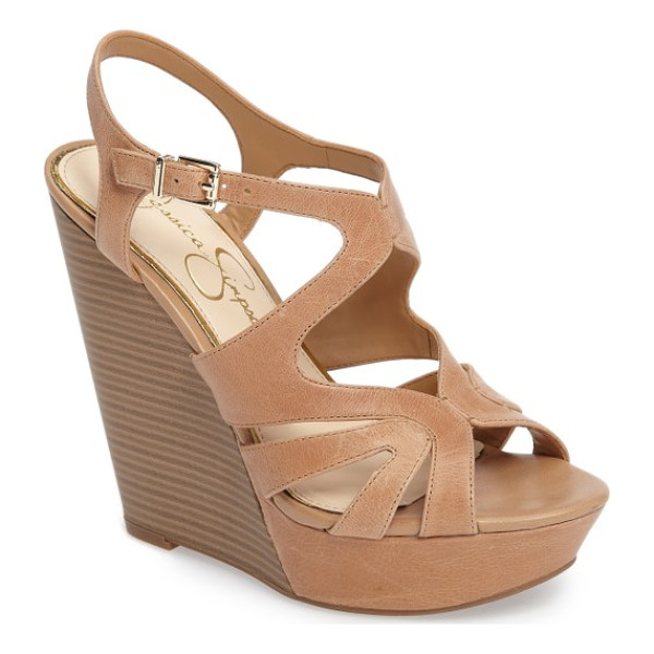 JESSICA SIMPSON brissah wedge - A sky-high stacked wedge and chunky covered platform add