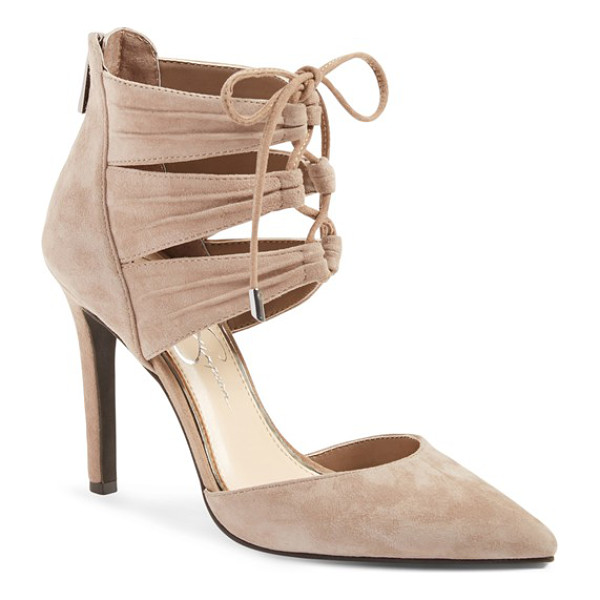 JESSICA SIMPSON caleya lace up pump - Crisscrossed laces bridge the pleated, triple-strap cuff of...