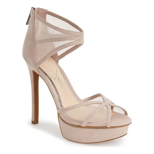 JESSICA SIMPSON ceyanna platform sandal - Sheer mesh insets add sultry appeal to a sky-high platform...