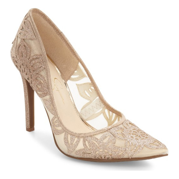JESSICA SIMPSON charese pointy toe pump - Floral appliques atop sheer mesh lend understated glamour...