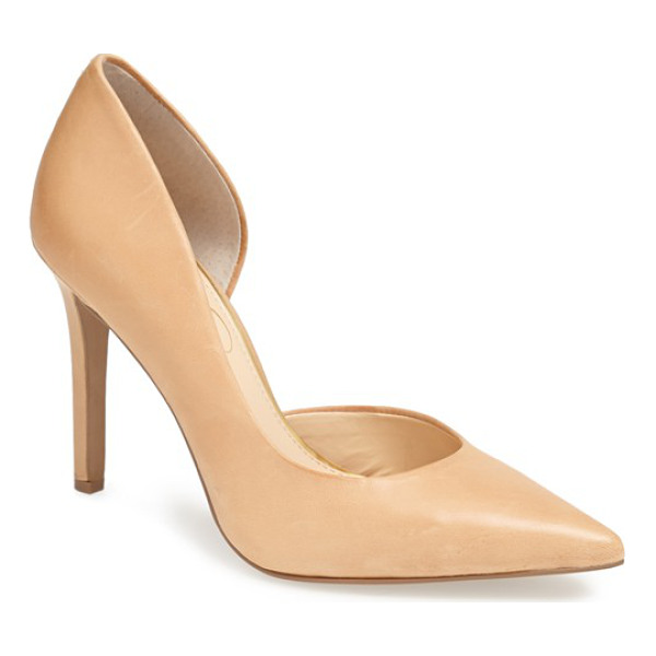JESSICA SIMPSON claudette pump - A trend-right single-sole stiletto features a pretty half...