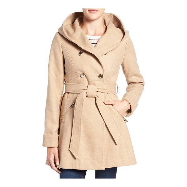 JESSICA SIMPSON double breasted hooded trench coat - A hooded fit-and-flare design puts a modern, ultrafemme...