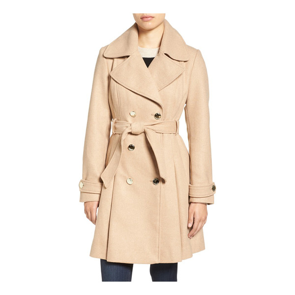 JESSICA SIMPSON fit & flare trench coat - A classic double-breasted trench coat gets a modern update...