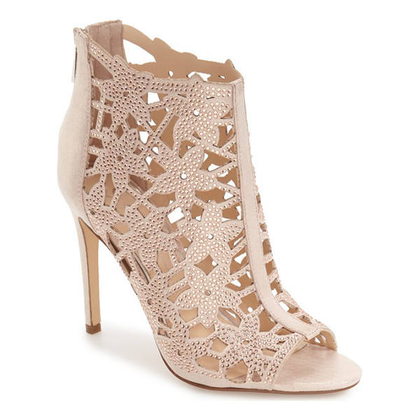 JESSICA SIMPSON 'gessina' studded laser cut bootie - Sparkly studs detail floral cutouts from the open toe to