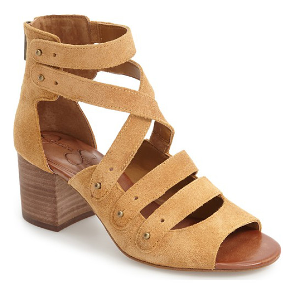 JESSICA SIMPSON halacie ankle strap sandal - Gleaming metal studs accent the suede straps of a go-to...