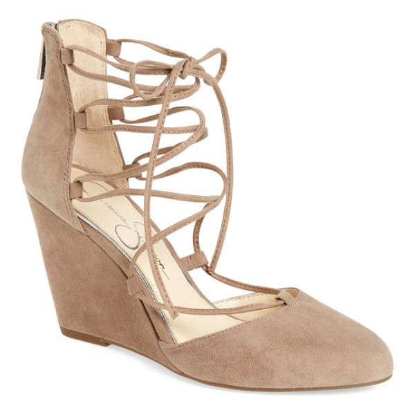 JESSICA SIMPSON jacee lace-up wedge - A covered wedge heel and almond toe update the trend-right,...
