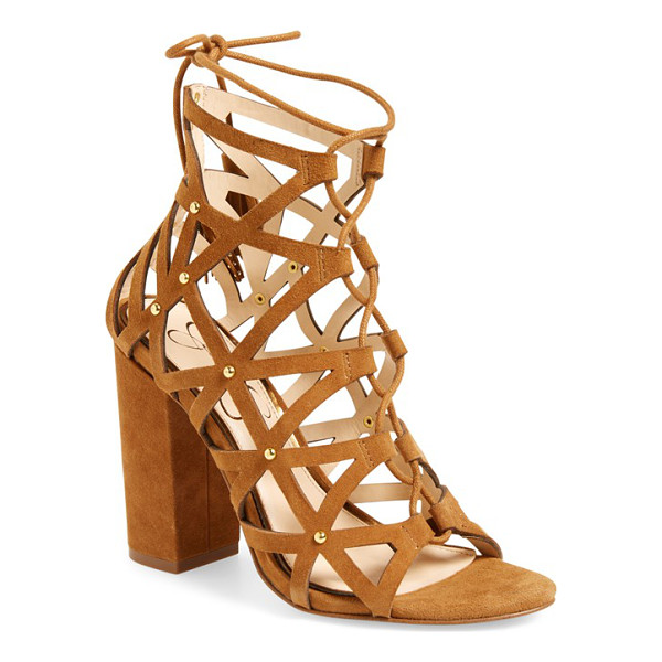 JESSICA SIMPSON kariba cage sandal - Polished studs and tasseled ghillie laces extend the...