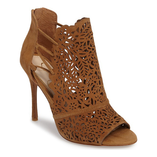 JESSICA SIMPSON keelin open toe bootie - A luxe suede vamp laser cut in an intricate floral pattern...