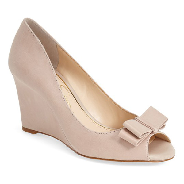 JESSICA SIMPSON lyla wedge sandal - A dainty double bow stands out at the peep toe of a...