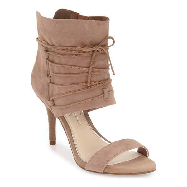 JESSICA SIMPSON 'madeena' ghillie wrap sandal - A velvety suede ankle wrap secured by ghillie-style lacing