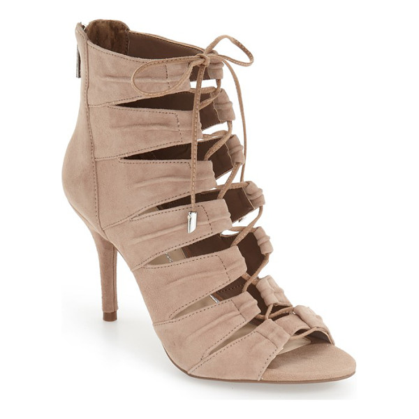 JESSICA SIMPSON 'mahiri' ghillie open toe bootie - Ghillie-style lacing ladders up the front of this...